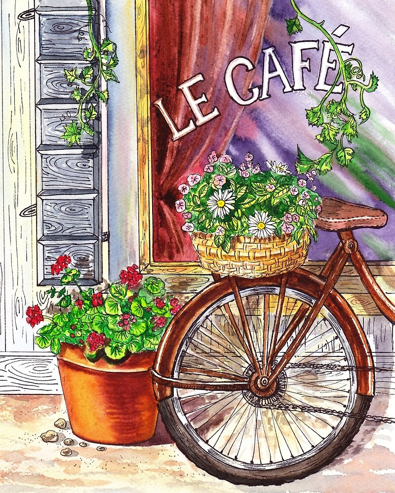 French Cafe And Bicycle With Basket by Irina Sztukowski