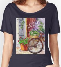 French Cafe And Bicycle With Basket Women's Relaxed Fit T-Shirt