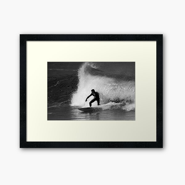Surfer in Black And White Framed Art Print