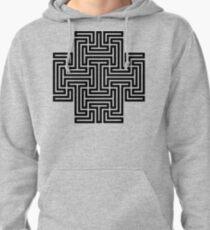 Geometric Maze Pattern Swastika - Black Pullover Hoodie