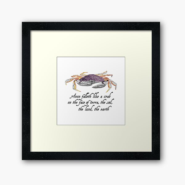 Crab - Shakespeare Quote - Laudea Martin Framed Art Print