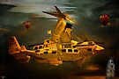 """""""The Osprey"""" - A  Golden Steam Powered Flying Gunship by Chris Lord"""