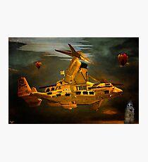 """The Osprey"" - A  Golden Steam Powered Flying Gunship Photographic Print"