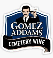 Gomez Addams Cemetery Wine Sticker