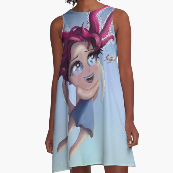 Axolotl Mädchen im Meer A-Linien Kleid