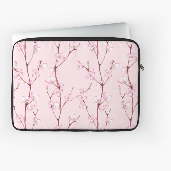 Pink blossom. Watercolor seamless floral pattern Laptop Sleeve