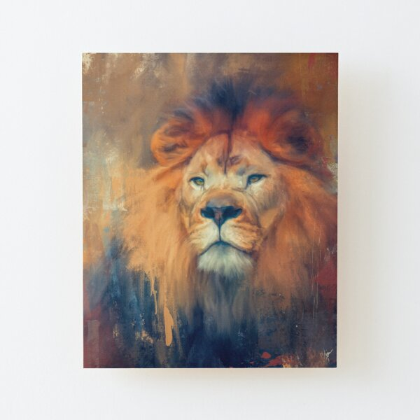 Lion Energy Wood Mounted Print