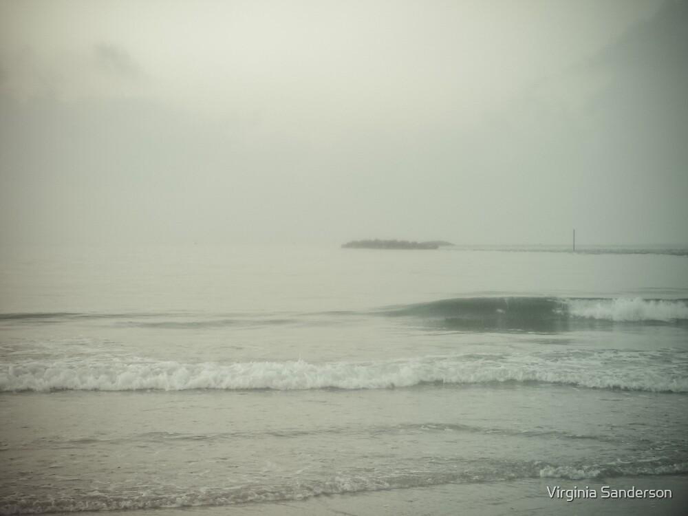 Morning Fog at Wrightsville Beach Jetty by Virginia Sanderson