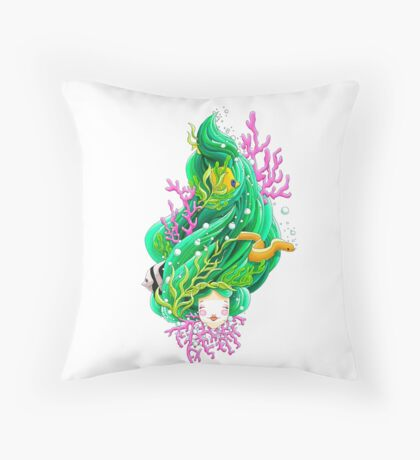 Bobbing along on the beautiful briney sea Throw Pillow