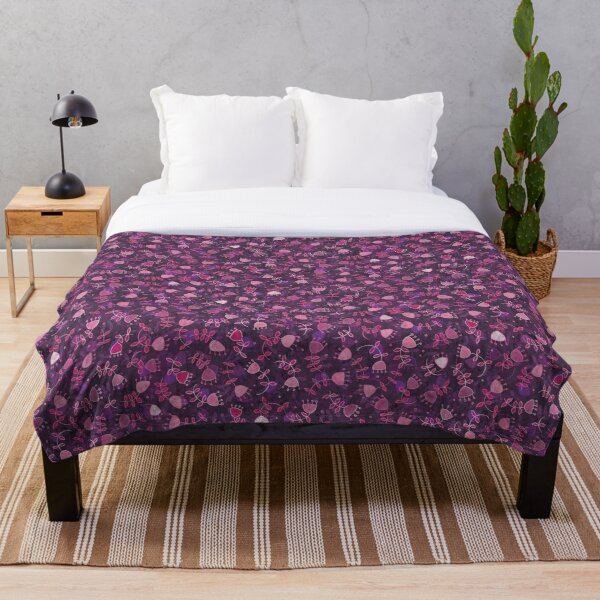 Abstract Flowers in Rose Throw Blanket