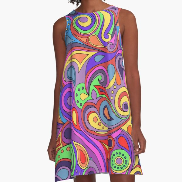 Groovy Psychedelic Hippy Paisley Pattern A-Line Dress