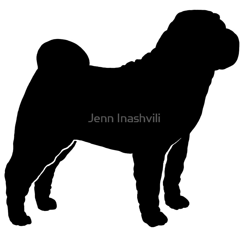 Quot Chinese Shar Pei Silhouette S Quot Stickers By Jenn