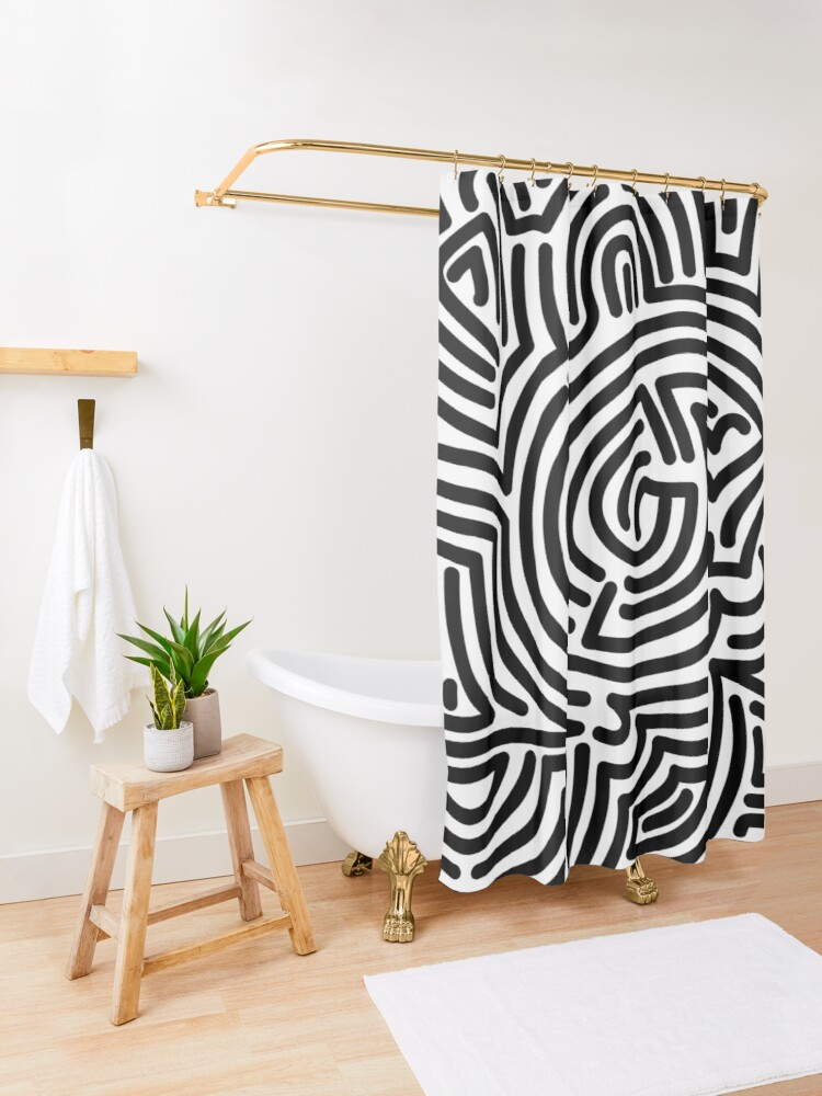 Alternate view of Haring Style #1 Shower Curtain