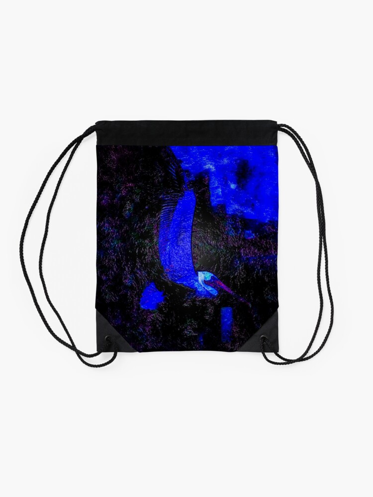 Alternate view of Pelican Takes Wing Over Sutro Baths Drawstring Bag