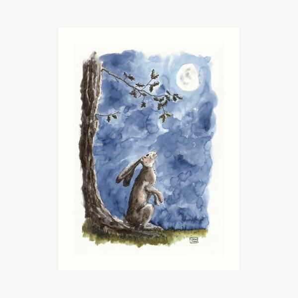 Moon-gazing Hare - watercolour illustration Art Print