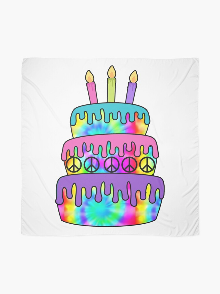 Brilliant Happy Birthday Cake Hippie Tie Dye Psychedelic Candles Scarf By Funny Birthday Cards Online Unhofree Goldxyz