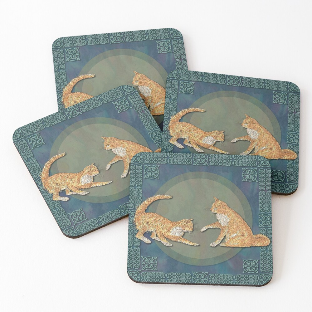 Celtic Cats - Ginger Cats Coasters (Set of 4)