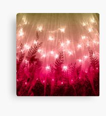 Pink Twinkling Lights & Leaves Canvas Print