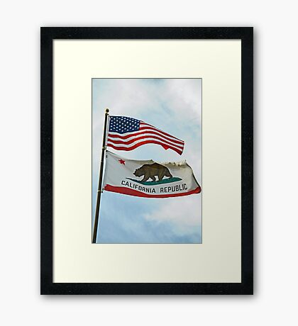 The United States and California Flags Framed Print