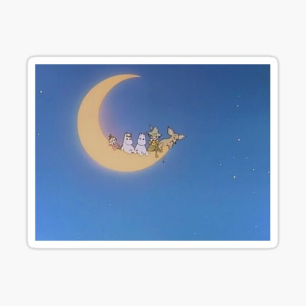 Moomin and friends on the moon  Sticker