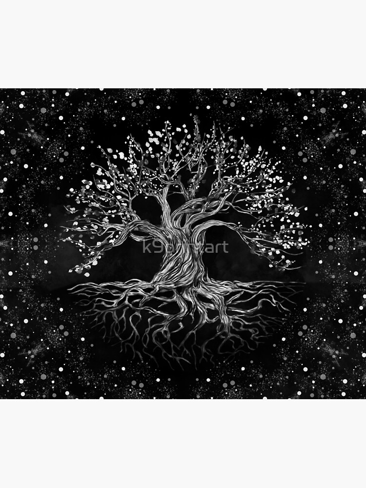 Tree of Life Drawing Black and White by k9printart