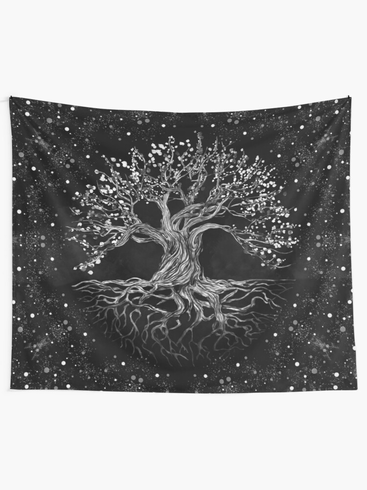 Alternate view of Tree of Life Drawing Black and White Tapestry