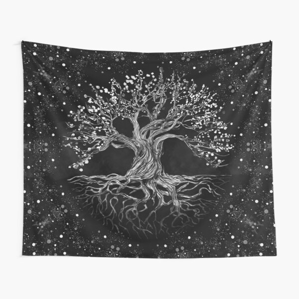 Tree of Life Drawing Black and White Tapestry