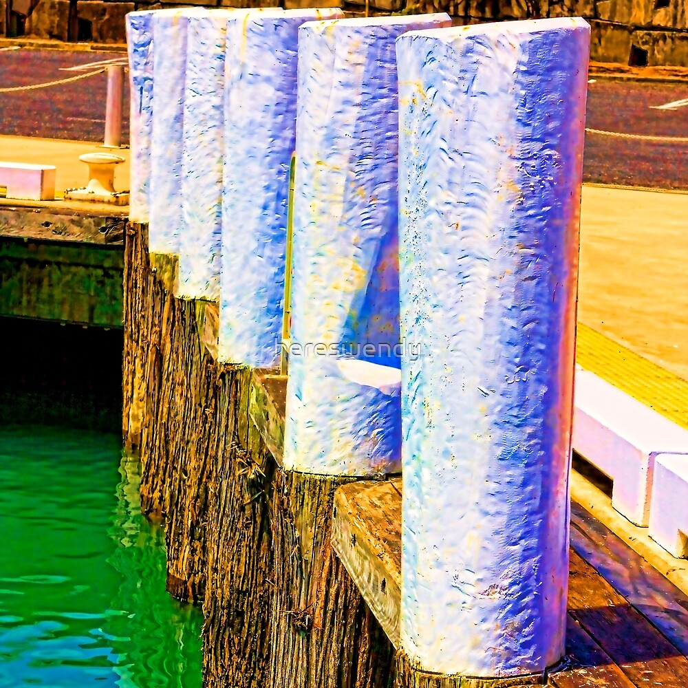 Vibrant Timber Harbour Bollards by hereswendy