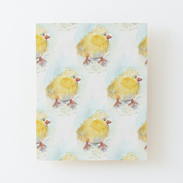 Cute Spring Chicken Pattern Wood Mounted Print