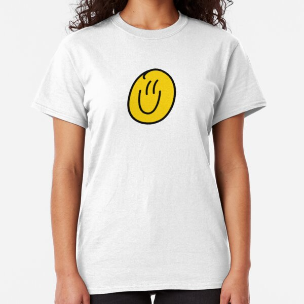 Glow In The Dark Smiling Face WOMENS T-SHIRT Old Skool Rave Acid Party birthday