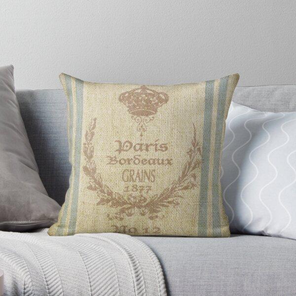 Bonjour ! - Faux Grain Sack [Paris Bordeaux 1877] Throw Pillow