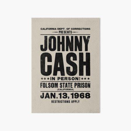 Johnny Cash Vintage Folsom Prison Concert Poster Art Board Print
