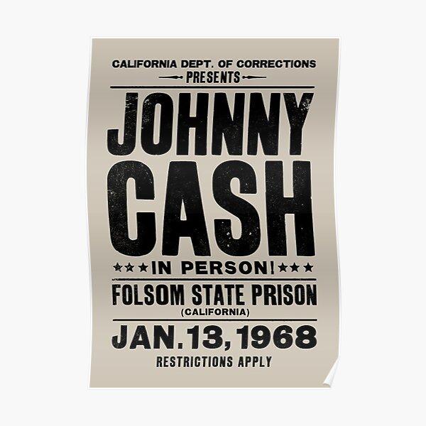 Johnny Cash Vintage Folsom Prison Concert Poster Poster
