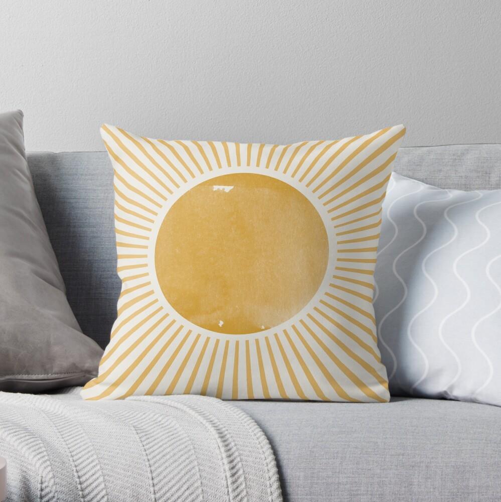 Retro Sun Mid Century Modern Throw Pillow