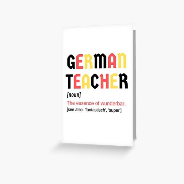 German Teacher Wonderful Wunderbar Fantastic Super Noun Definition  Greeting Card