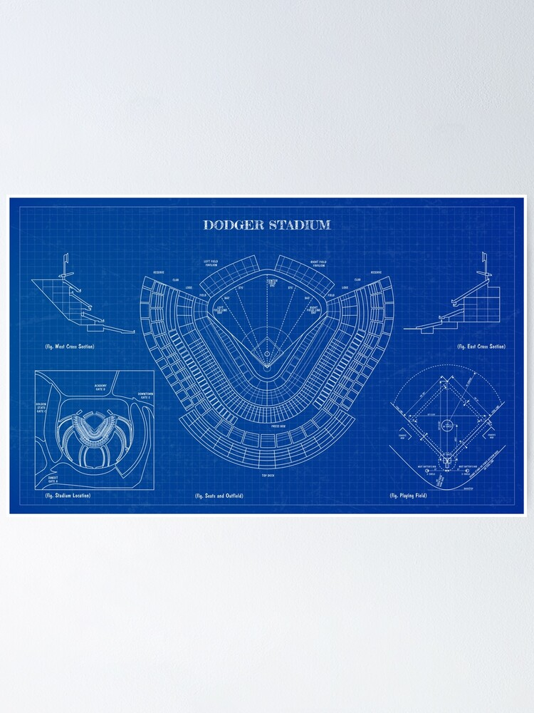Alternate view of Dodger Stadium (Blueprint) Poster