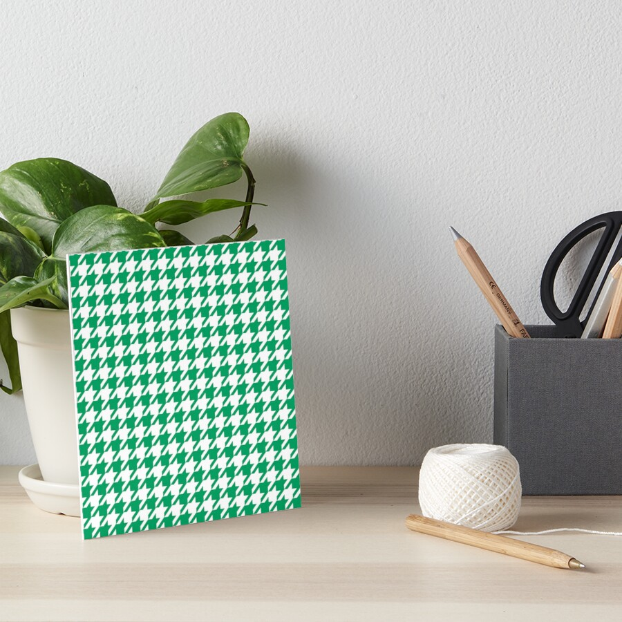 Houndstooth in clover green color Art Board Print