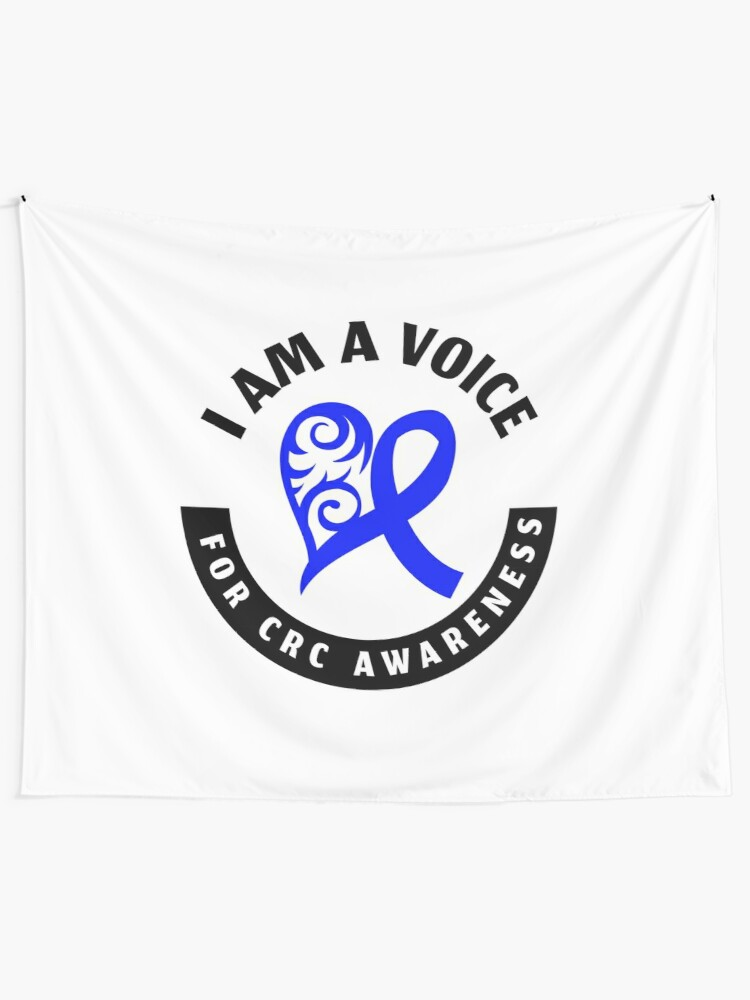 Colon Cancer Blue Ribbon Crc Awareness Heart Support Voice Design Tapestry By Createdbyheidi Redbubble