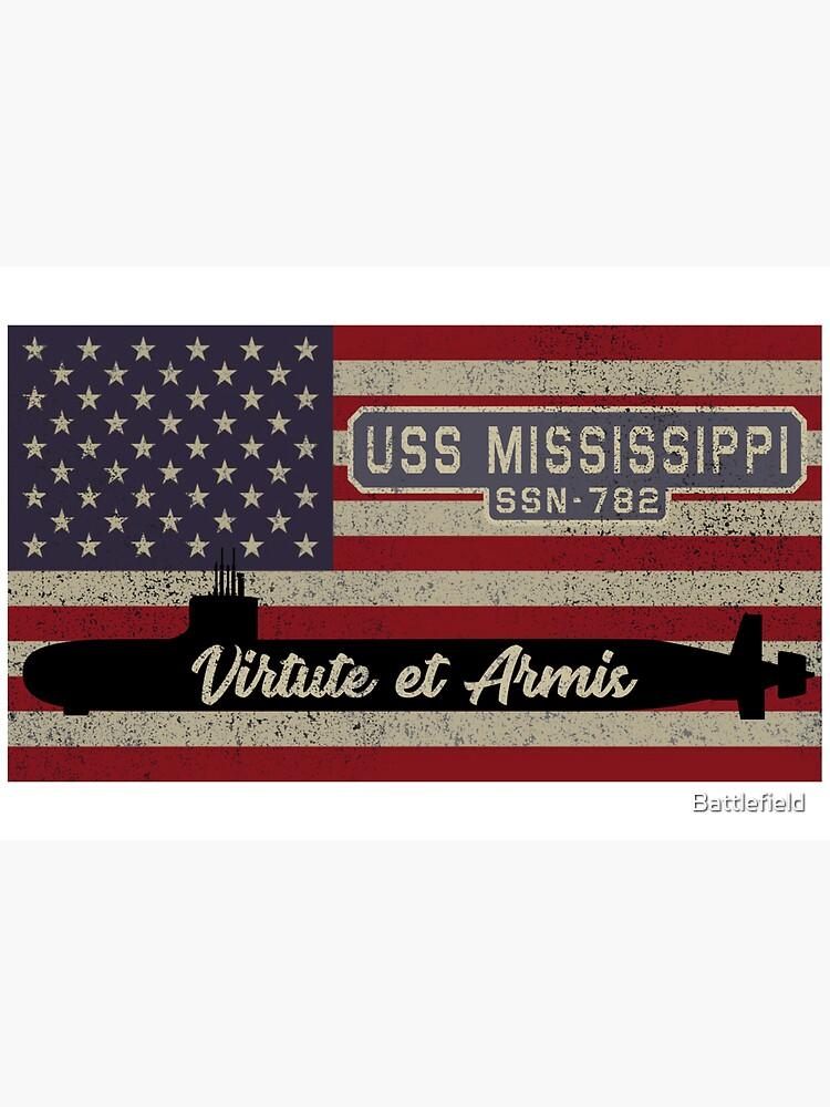 USS Mississippi SSN-782 Hunter Killer Attack Submarine Vintage American Flag Gift by Battlefield