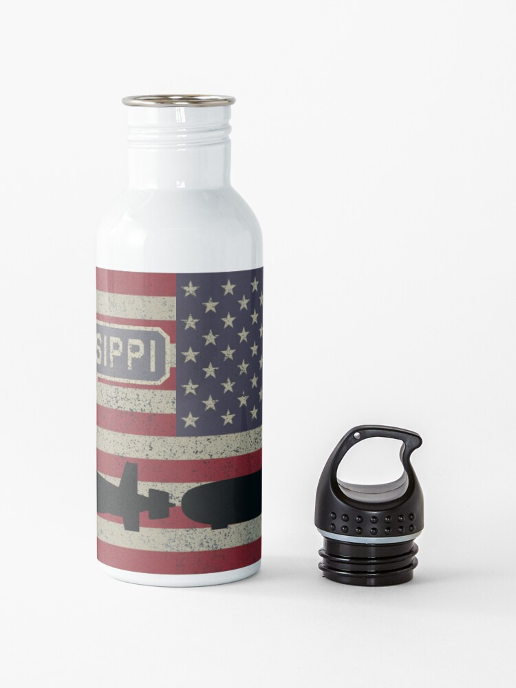 Alternate view of USS Mississippi SSN-782 Hunter Killer Attack Submarine Vintage American Flag Gift Water Bottle