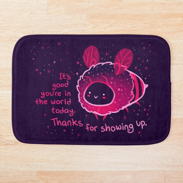 """It's Good You're in the World Today"" Neon Bee Bath Mat"