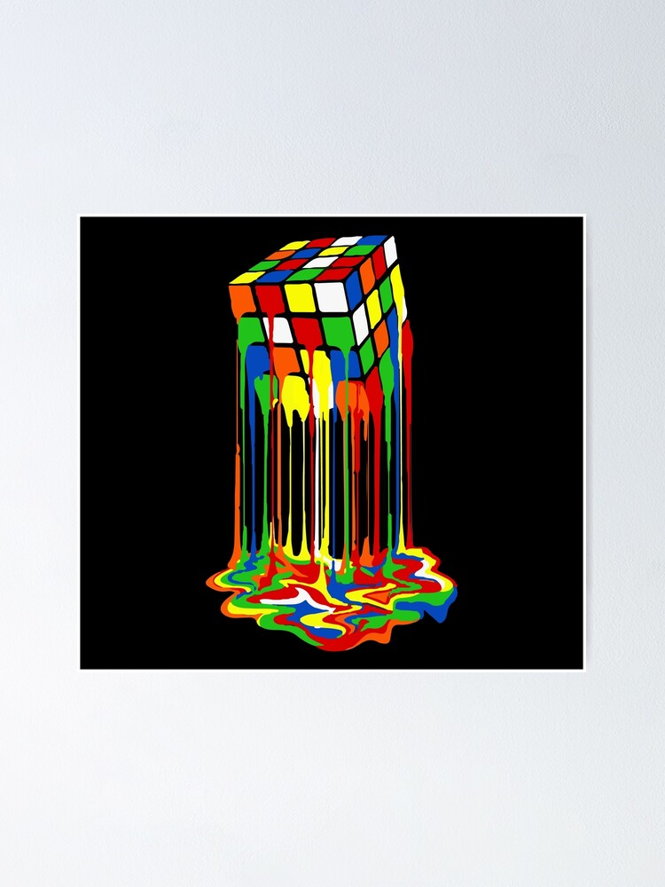 Melting Rubiks Cube Poster By Inkstyl Redbubble