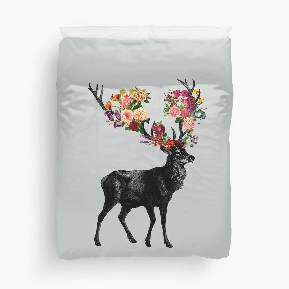 Spring Itself Deer Floral Duvet Cover