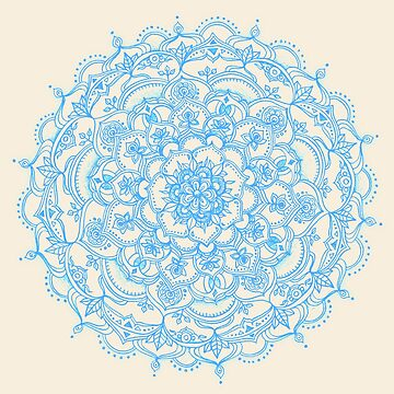 Pale Blue Pencil Pattern - mandala de encaje dibujada a mano de micklyn