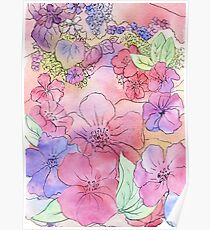 Floral Watercolour Collage 3  Poster