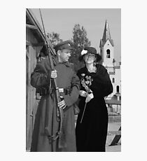 Retro style picture with woman and soldier Photographic Print