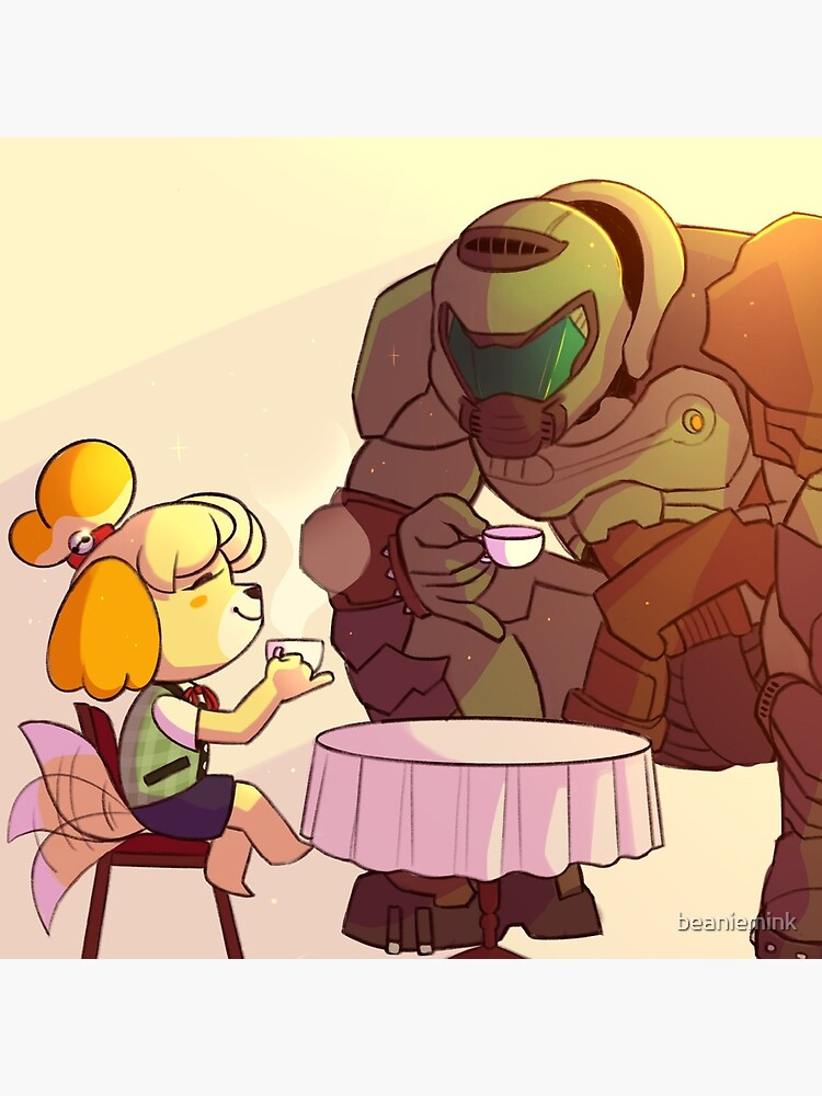 Isabelle And Doomguy Greeting Card By Beaniemink Redbubble