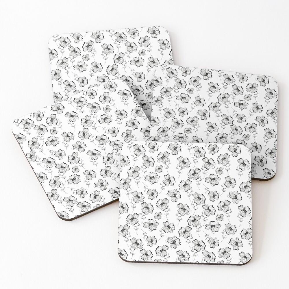 Monochrome Pretty Pansy Coasters (Set of 4)