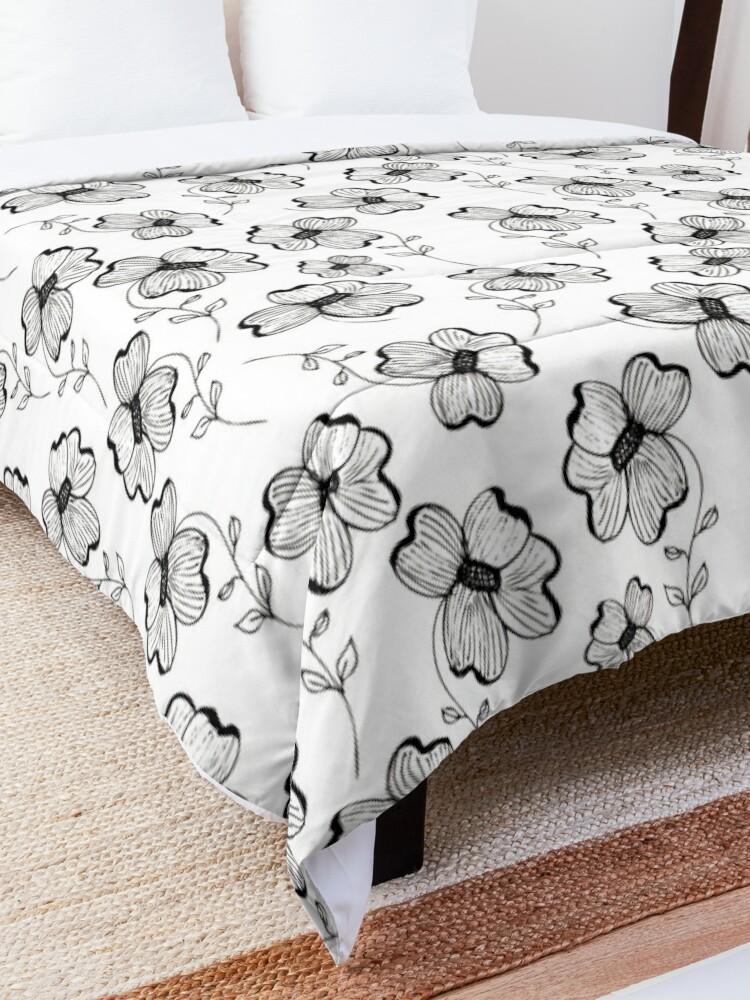 Alternate view of Monochrome Pretty Pansy Comforter