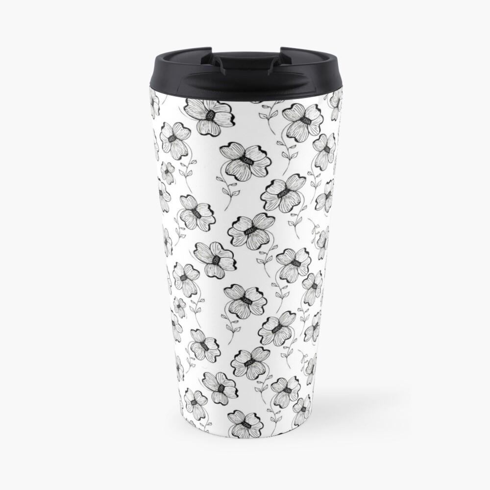 Monochrome Pretty Pansy Travel Mug